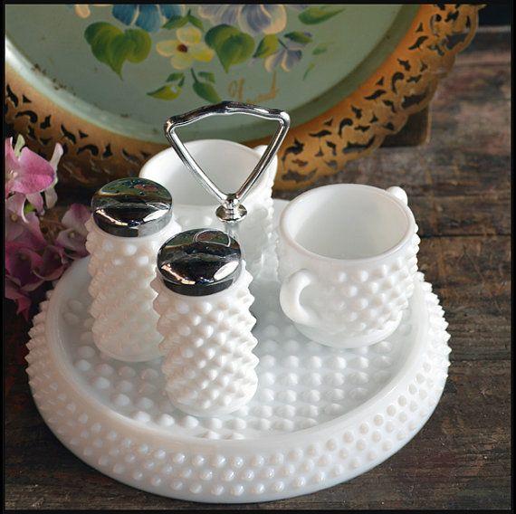 Vintage Fenton Condiment Set / Fenton Milk Glass by ShiftingYears