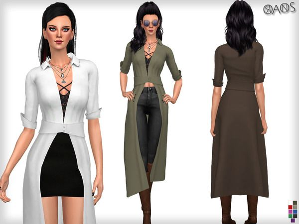 The Sims Resource: Shirley Plunge Neck Split Maxi Shirt by OranosTR • Sims 4 Downloads