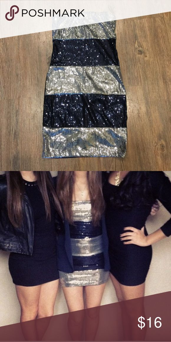 Silver and navy striped sequin dress! Cute sequin strapless dress!! Silver and navy sequins in the front and solid black in the back!! Such a fun dress!! Worn once! Make me an offer!! 😊 Forever 21 Dresses Mini