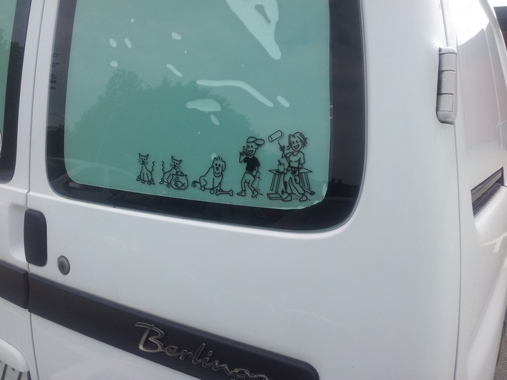 Spotted out and about in Sweden. Family car stickers