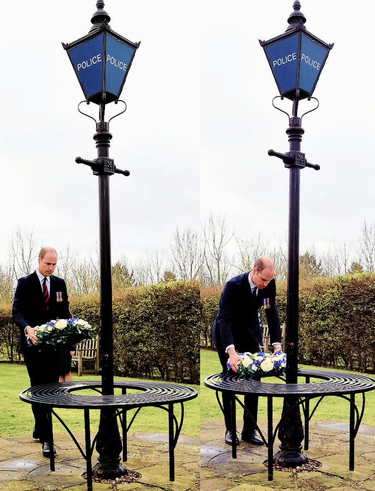 The Duke of Cambridge lays a wreath at the Police memorial at The National Memorial Arboretum | 29 March 2017