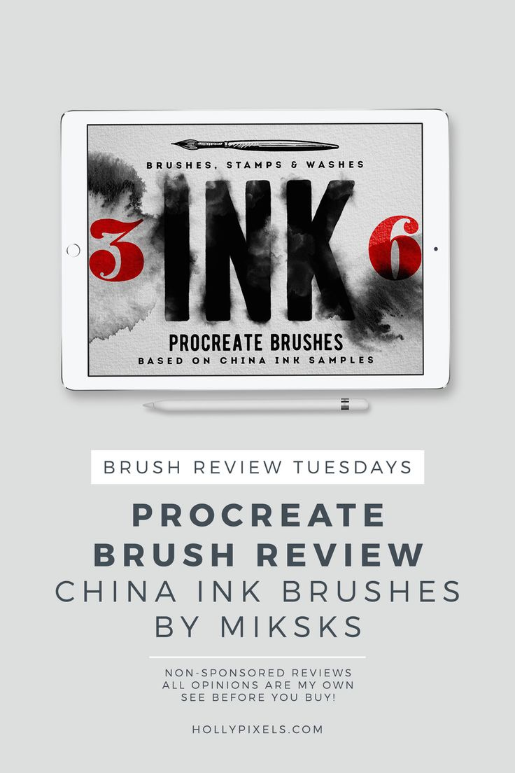 This week's Procreate brushes review features China Ink Washes by MiksKS that can be purchased at Creative Market. Every Tuesday I pick a new brush set for Procreate to purchase and show you what you're getting. This series is completely my own thoughts and opinions and is not sponsored by the brush lettering designers.