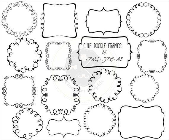 Cute Doodle Frames Clipartframe Clipartdoodle Borders Etsy In 2021 Doodle Frames Cute Doodles Hand Doodles