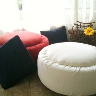 Tire upcycled to Ottoman/table