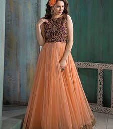 Buy Peach soft net embroidered semi stitiched salwar with dupatta party-wear-salwar-kameez online