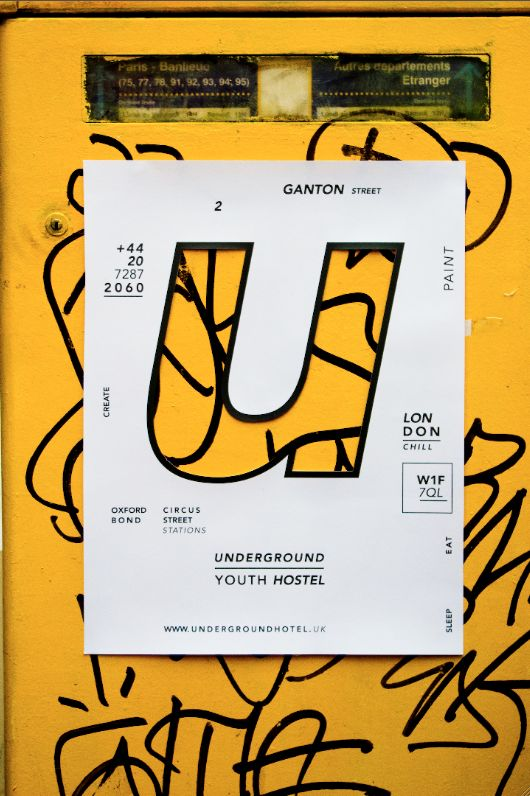 """blu27nature: womenofgraphicdesign: Laura Beretti (France) Underground Youth Hostel Identity, 2013 Keep reading Fuck, this is what is called """"thinking outside the box""""! 