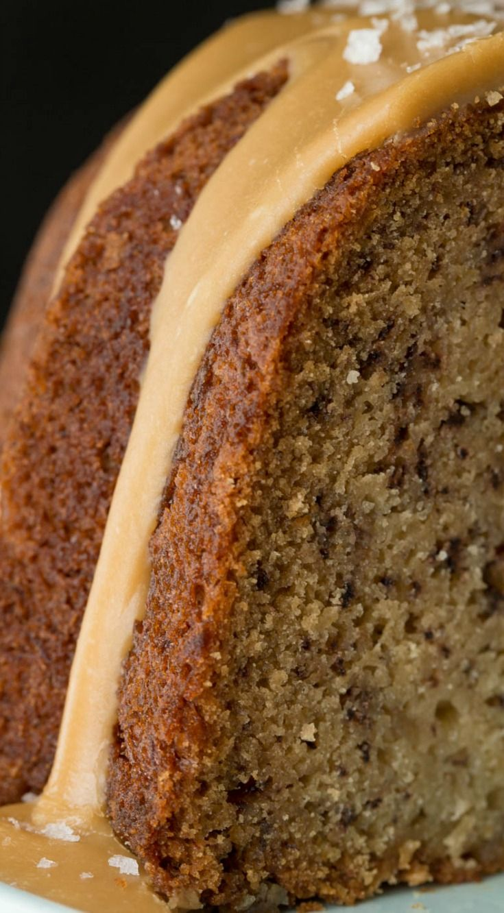 Banana Pound Cake With Salted Toffee Icing ~ The most delicious, moist and easy banana cake you'll ever make! And the icing is to die for!