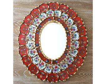 Espejo peruano - invertida pintado vidrio espejo oro hojas talladas en madera - espejo de la pared roja Perú