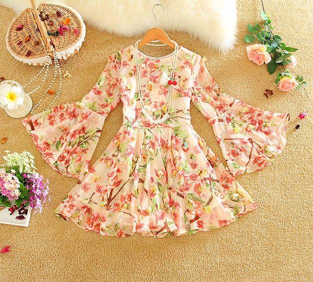 2016 новый женский весна осень платье vestidos женщина цветочный принцесса одевается молодежные женщины леди ну вечеринку платье одежда