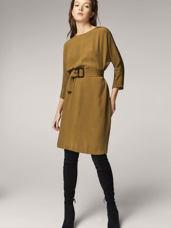 Fall Winter 2017 Women´s KHAKI DRESS WITH BELT DETAIL at Massimo Dutti for 130. Effortless elegance!