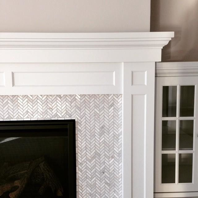 for master fireplace hampton small herringbone marble mosaic tile - Fireplace Surround Ideas