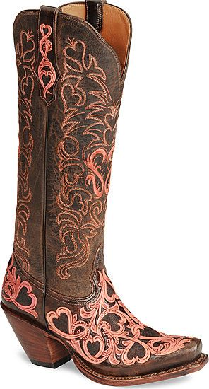 Heart and Scroll Tony Lama Boots -- pink hearts on brown leather