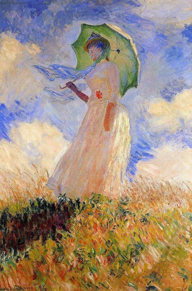 Mulher com um Guarda-Sol - Pinturas de Monet Claude | O Pai do Impressionismo