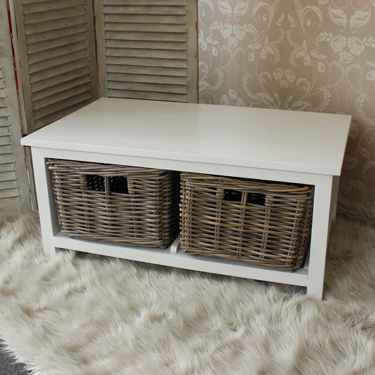 White Wood Coffee Table With Wicker Baskets New In At