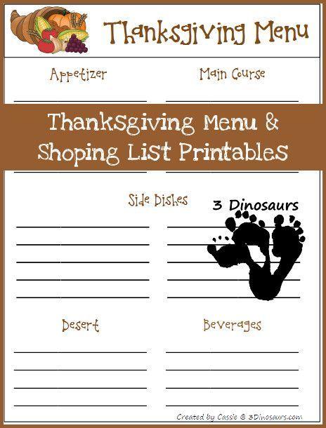 Free Thanksgiving Menu & Shopping List - 3Dinosaurs.com