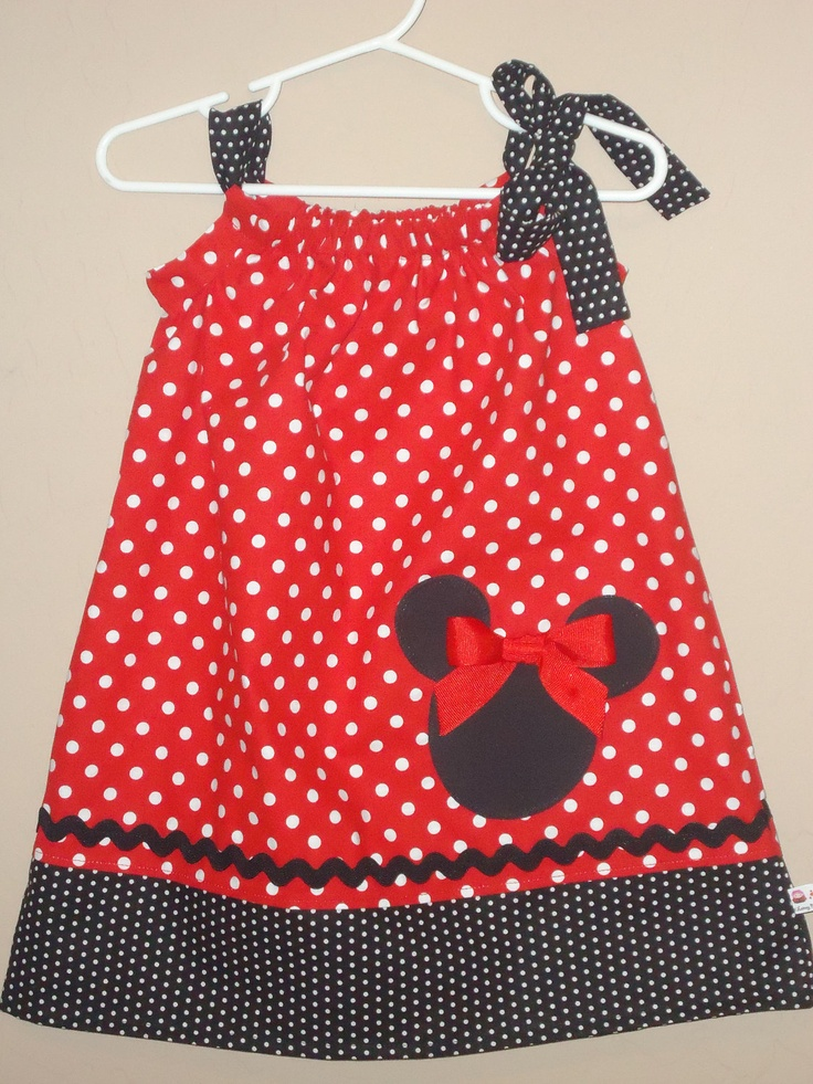 Disney Minnie Mouse Inspired Baby Toddler Dress - Pillowcase Dress - Brother Shirt Available -Great for Disney Trips and Birthdays. $32.00, via Etsy.