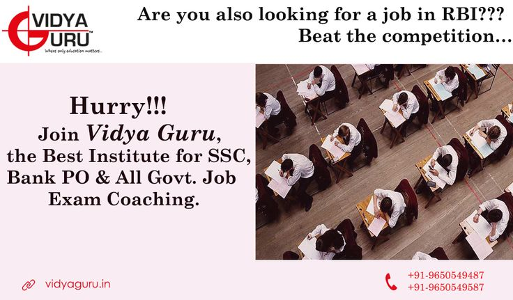 ‪#‎Bankcoachingcenter‬ ‪#‎BankcoachingInstitute‬ ‪#‎bankcoaching‬ Looking for a job in RBI??  Join Vidya Guru and Beat the competition! Call: 9650549487 or Visit: http://www.vidyaguru.in/