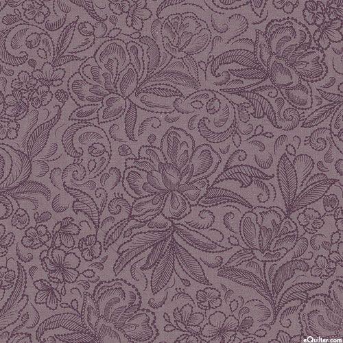 """Калла - Пионовый сад - пыльный фиолетовый - 108"""" лоскутное одеяло минусовки"""