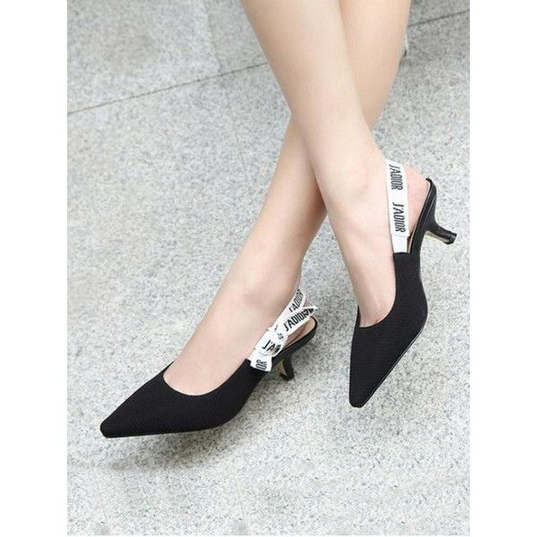Letter Pattern Slingback Mid Heel Pumps Black (€30) ❤ liked on Polyvore featuring shoes, pumps, patterned pumps, mid-heel shoes, mid heel pumps, mid-heel pumps and black slingbacks