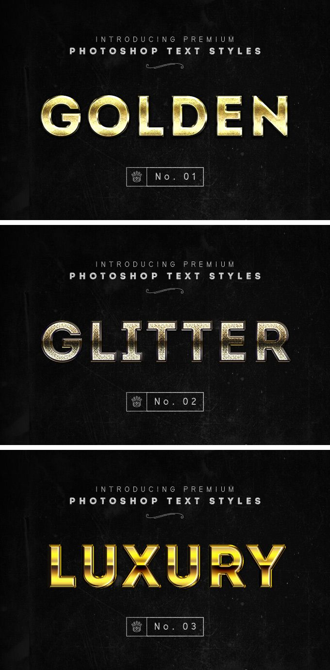 3 Photoshop Gold Text Styles - download freebie by Pixelbuddha
