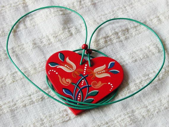 Embrace - Series 01 - red, handpainted heart 2-in-1 necklace and bag jewellery inspired by traditional, historic Transylvanian style