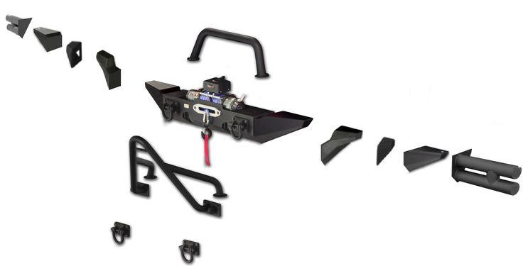 Rugged Ridge XHD Frontstoßstangen-Set Das fortschrittlichste, robusteste und flexibelste Stoßstangensystem, das je entwickelt wurde!  Textured Black mit Nebelscheinwerferaussparung, inklusive...
