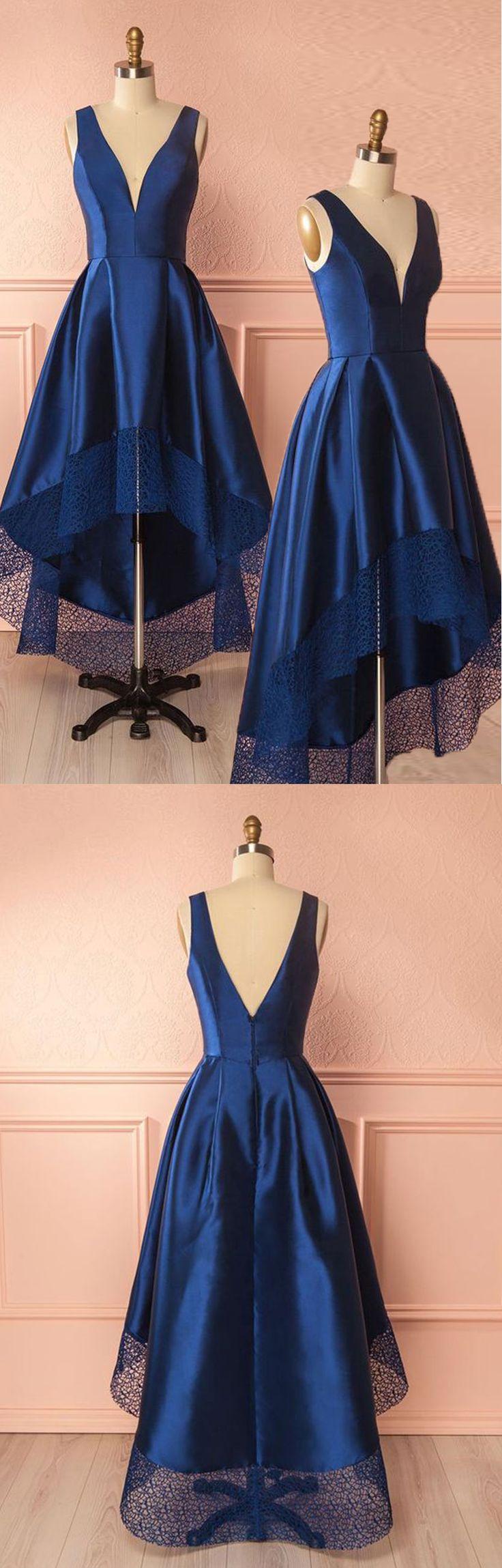 Dark blue v neck high low prom dress, dark blue bridesmaid dress, dark blue homecoming dress