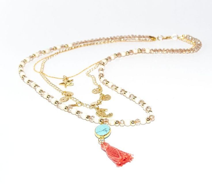 Necklace-Turquoise on the sea-Amarone