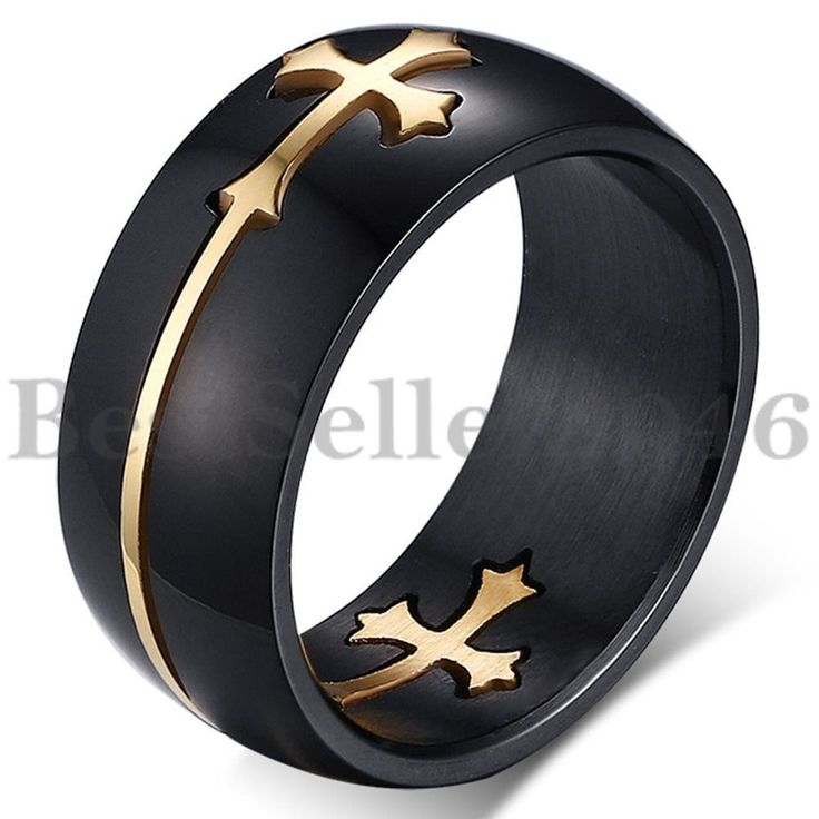 Men's Black Stainless Steel Gold Tone Christian Cut Out Cross Ring Size 7-14 #Unbranded #Band
