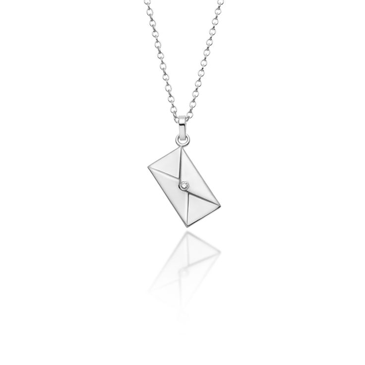 """""""Love Letter"""" silver polished pendant with a diamond and silver chain. For engraving in the back of the letter, please add your message, name or word in your order."""