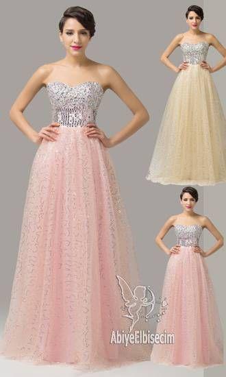 f25d9b20033a7 uzun abiye elbise kolsuz pembe kayısı beyaz renkli abiye elbise,abiye elbise,kısa  abiyeler,uzun abiye,online abiye,uc | elbise | Prom dresses, ...