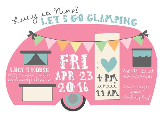 Glamping Birthday Invitation, Girl Camping Sleepover Party Invite, Pink Camper, Camp Printable, Boho Glamper 9th Bday  Invite your guests in