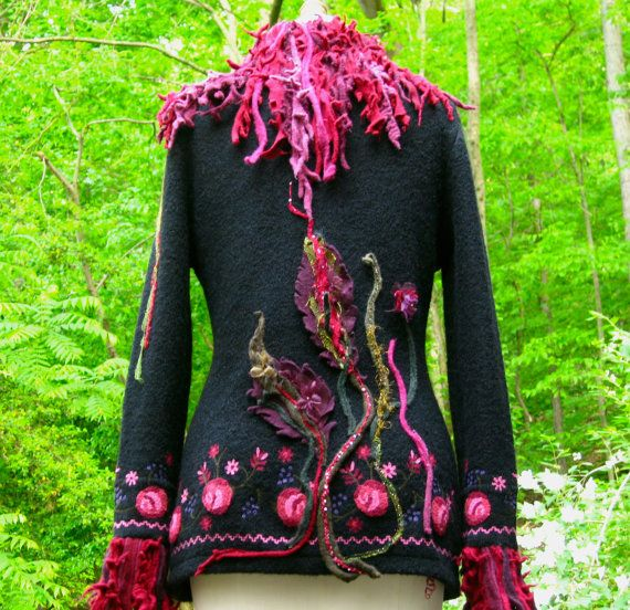 long embroidered jacket cardigan with shaggy collar and felted leaves size medium ready to. Black Bedroom Furniture Sets. Home Design Ideas