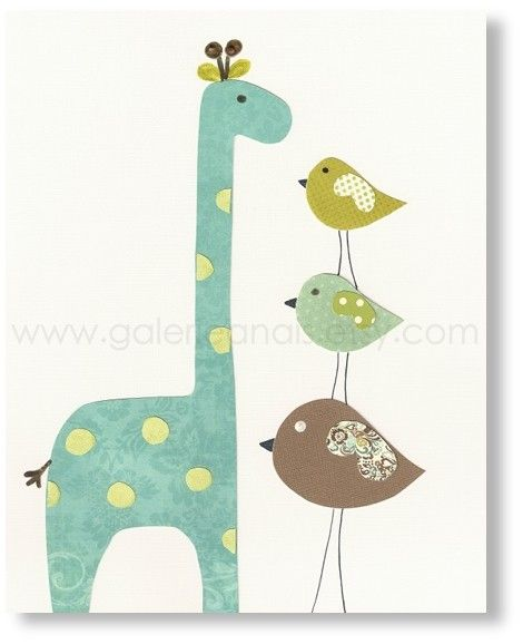 Baby Room Nursery Art, Children Decor, nursery giraffe, kids wall art, nursery birds, kids birds, Taller than You 8x10 print. $14.00, via Etsy.