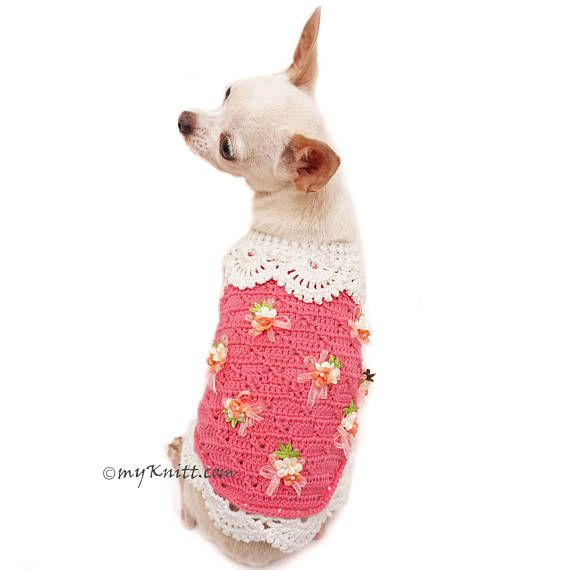 129b6296c8aa Deep Pink Dog Sweater with crochet flowers. Cute Dog Clothes Girl perfects  for Wedding or any casual occasions. Handmade crochet lace dress for  chihuahua, ...