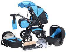 S7  Baby-Merc pram pushchair swivel wheels and reversible handle + car seat