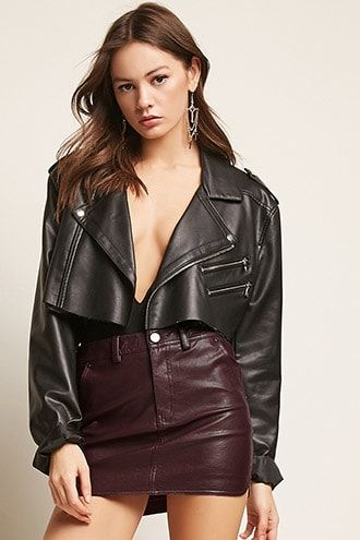 61ba24b11d Faux Leather Mini Skirt | Black Leather Jacket Girls in 2019 ...