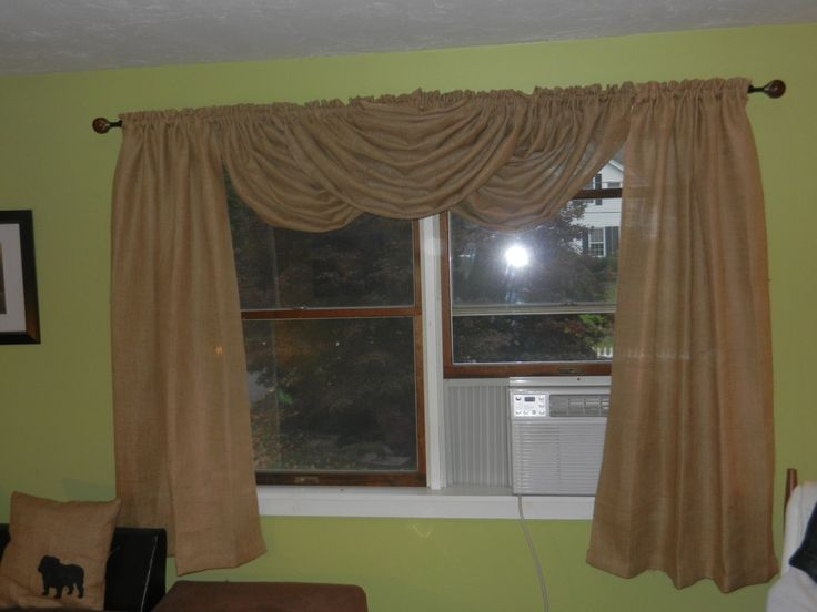 Burlap drapes with waterfall valance. by CraftyAmour on Etsy, $70.00
