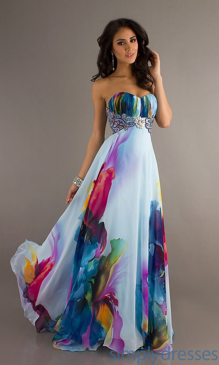 Dress, Long Strapless Print Evening Gown – Simply Dresses. If you have an Alice in Wonderland wedding, your bridesmaids can be the garden flowers…