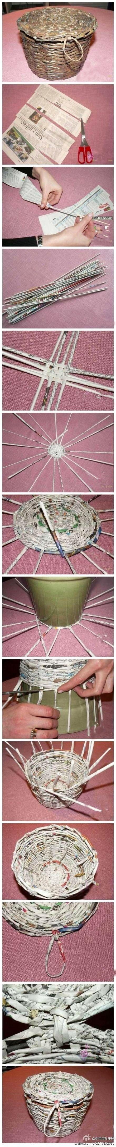 DIY Newspap  er Basket pinterest