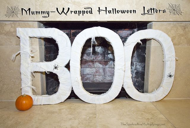 The Spohrs Are Multiplying…  DIY Mummy-Wrapped Halloween Letters