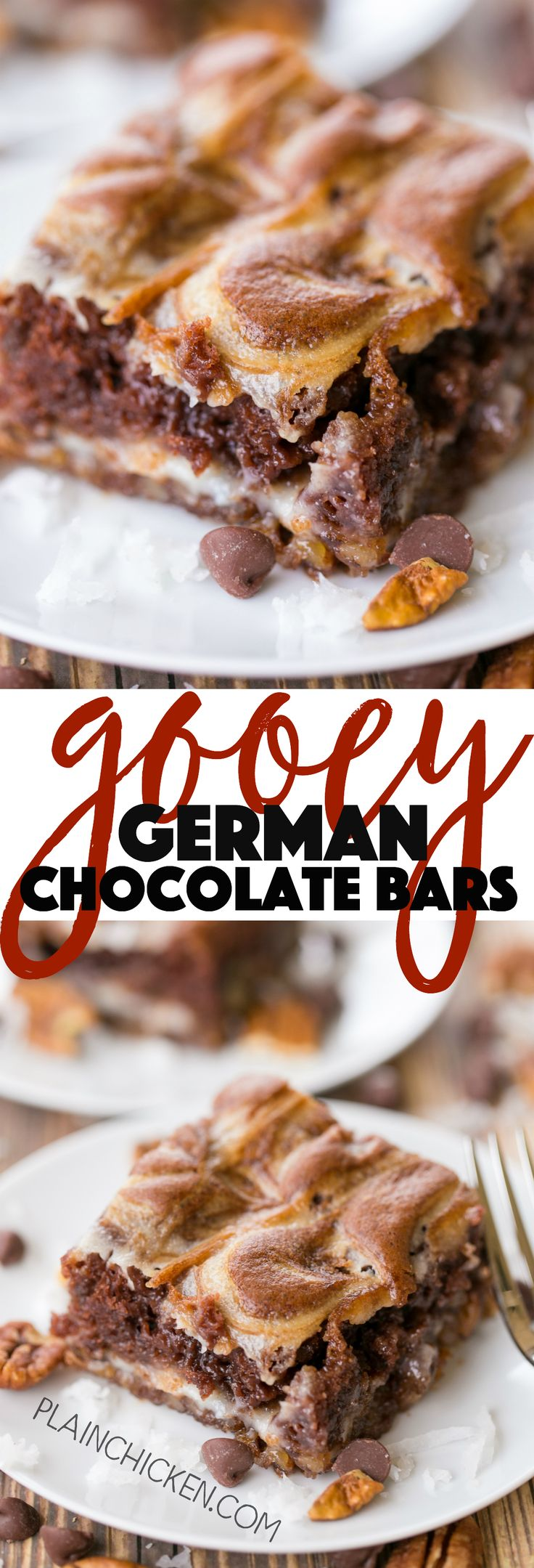 Gooey German Chocolate Bars - ooey, gooey heaven in a pan! These things are SOOOO good!!! Coconut, pecans, german chocolate cake mix, cream cheese, butter and powdered sugar. Only takes a minute to make. The hardest part is waiting on the bars to cool!!! Great for Valentine's Day and summer potlucks!