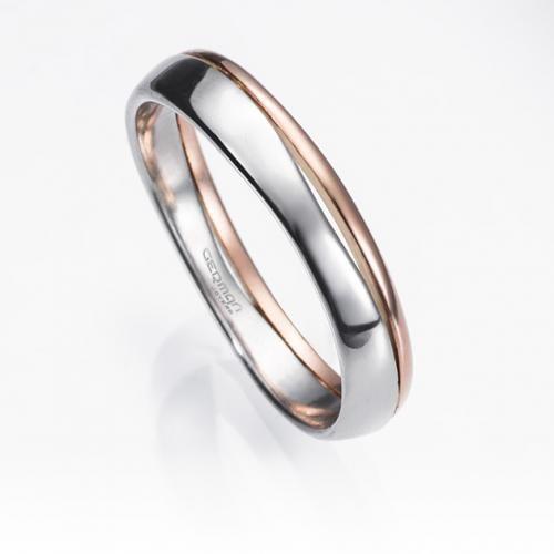 Alianza de boda BELAQUA en platino fino y oro rosa de 18 kilates con ancho de 3,5 milímetros. Incluye el grabado de nombre y fecha.