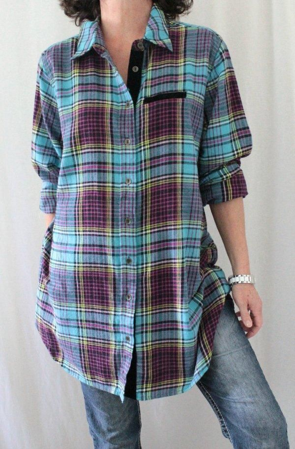 Soft Surroundings 100% Cotton Button Down Velour Trim Plaid Tunic Multi Sz L…