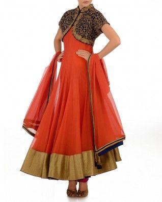 #Exclusivelyin, #IndianEthnicWear, #IndianWear, #Fashion, Tangerine Anarkali Suit With Heavily Embellished Shrug