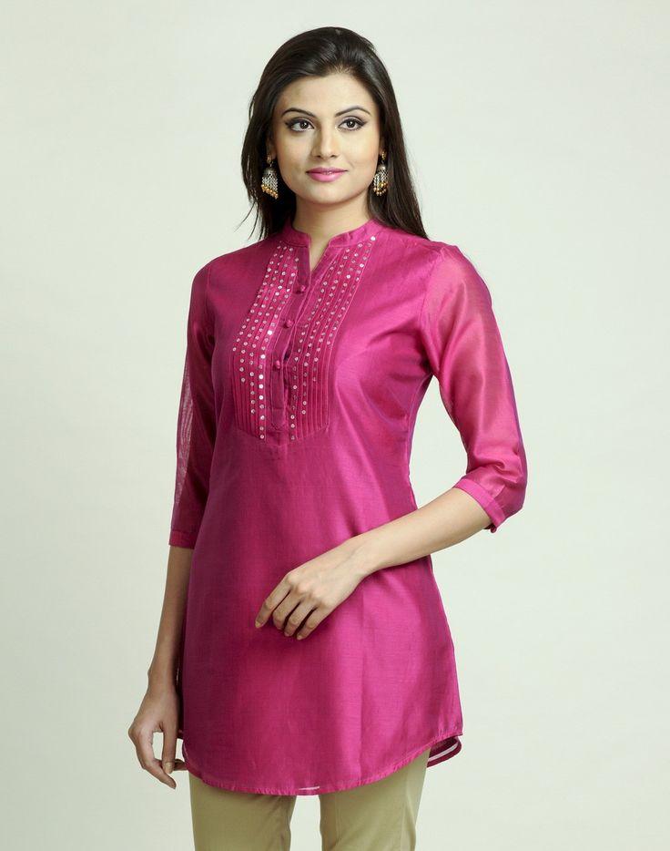 Silk Cotton Sequin Yoke Detail Tunic