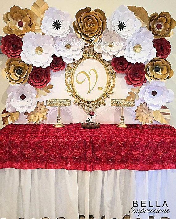 12 Pcs Paper Flower Backdrop Custom Colors All Flowers In Image 1 Dessert Table Home Decor Baby Kardashian Shower Roses Quince Decorations Gold Theme Party Quinceanera Themes