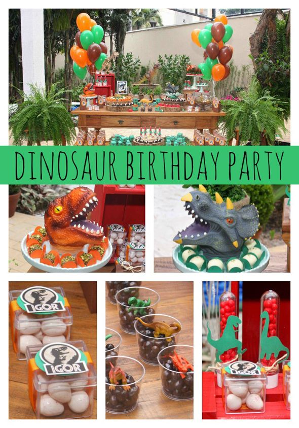 Any little paleontologist would LOVE this AMAZING dinosaur themed party. www.prettymyparty.com