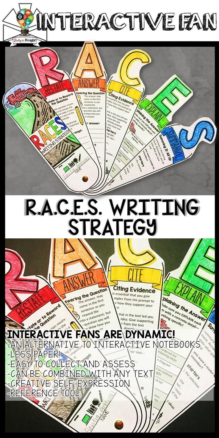 RACES WRITING STRATEGY, RESPONSE WRITING, INTERACTIVE FAN | grades 3, 4, 5, 6, 7, 8 | English Language Arts | Writing | Are you a fan of hands-on student engagement? This new R.A.C.E.S. Writing Strategy learning tool is so much fun and loaded with visuals to boost your Writing Response teaching lessons.