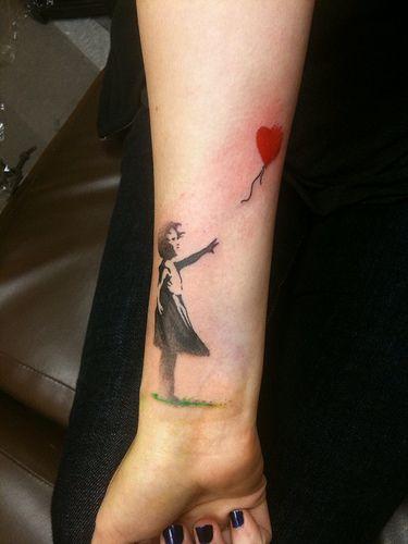 Banksy tattoo....ILOVEYOU. i want you.